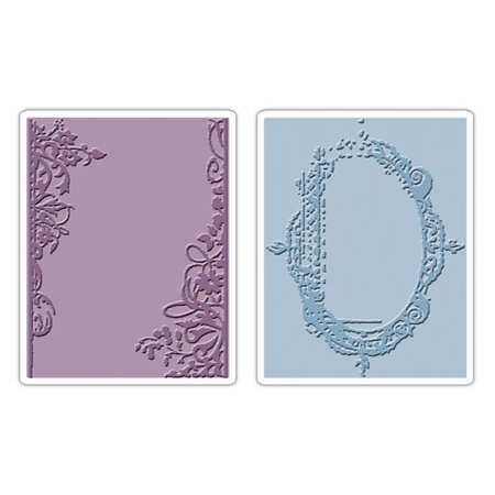 Sizzix - Tim Holtz - Texture Fades - Alterations Collection - Embossing Folders - Fancy and Floral Frames Set