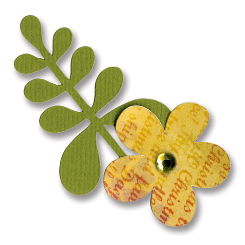 Sizzix - BasicGrey - Figgy Pudding Collection - Sizzlits Die - Small - Flower and Leaf 3