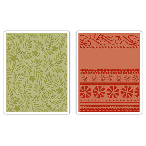 Sizzix - BasicGrey - Textured Impressions - Figgy Pudding Collection - Embossing Folders - Branches, Swirls and Ribbons Set
