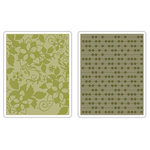 Sizzix - BasicGrey - Textured Impressions - Figgy Pudding Collection - Embossing Folders - Dots and Flowers Set 2