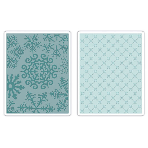 Sizzix - Basic Grey - Textured Impressions - Figgy Pudding Collection - Embossing Folders - Flower and Snowflakes Set