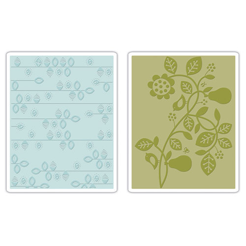 Sizzix - Basic Grey - Textured Impressions - Figgy Pudding Collection - Embossing Folders - Pear and Vines Set