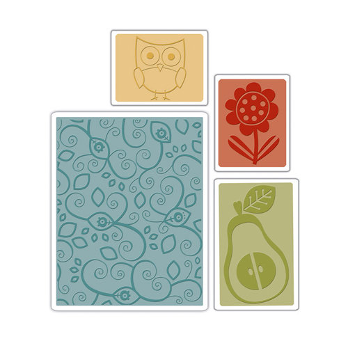 Sizzix - Basic Grey - Textured Impressions - Figgy Pudding Collection - Embossing Folders - Flower, Owl and Pear Set