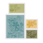 Sizzix - Basic Grey - Textured Impressions - Figgy Pudding Collection - Embossing Folders - Winter Botanicals Set