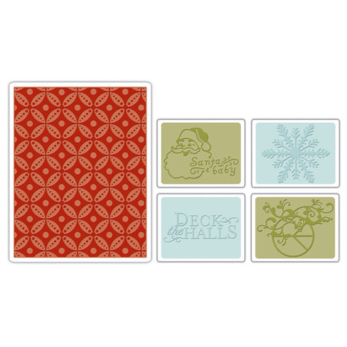 Sizzix - BasicGrey - Textured Impressions - Figgy Pudding Collection - Embossing Folders - Santa Baby Set