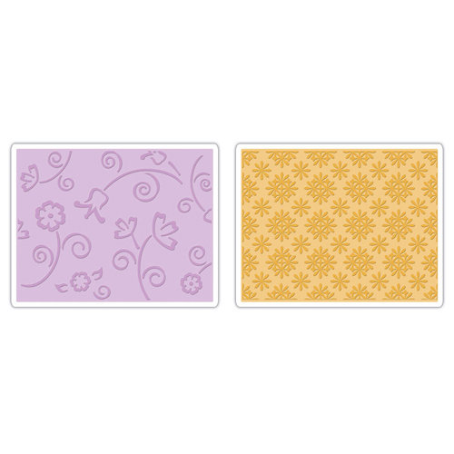 Sizzix - Textured Impressions - It's a Wrap Collection - Embossing Folders - Flower and Wreath Set