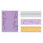 Sizzix - Textured Impressions - It's a Wrap Collection - Embossing Folders - Dots, Flowers and Rick-Rack Set