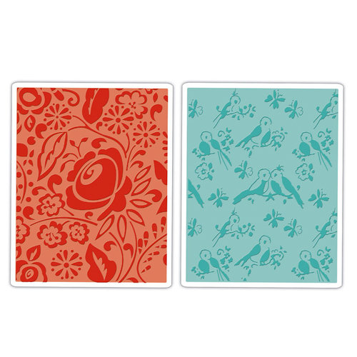 Sizzix - Textured Impressions - Decorative Accents Collection - Embossing Folders - Birds and Blooms Set