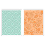 Sizzix - Textured Impressions - Decorative Accents Collection - Embossing Folders - Blossom, Circles, Leaves and Diamonds Set