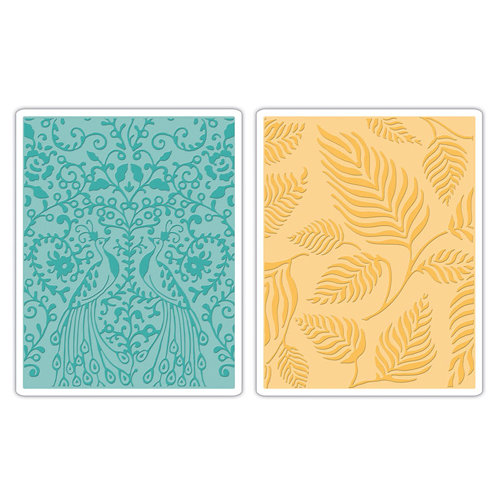 Sizzix - Textured Impressions - Decorative Accents Collection - Embossing Folders - Peacocks and Leaves Set