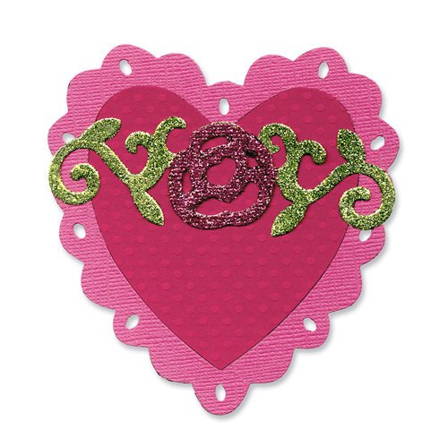 Sizzix - Vintage Valentine Collection - Bigz Die - Heart, Scallop with Roses