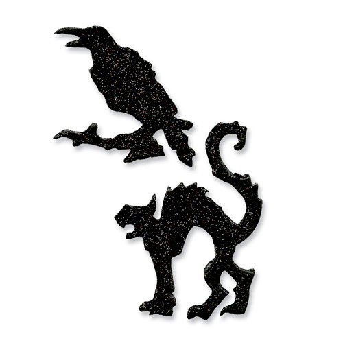 Sizzix - Tim Holtz - Alterations Collection - Movers and Shapers Die - Mini Cat and Raven Set
