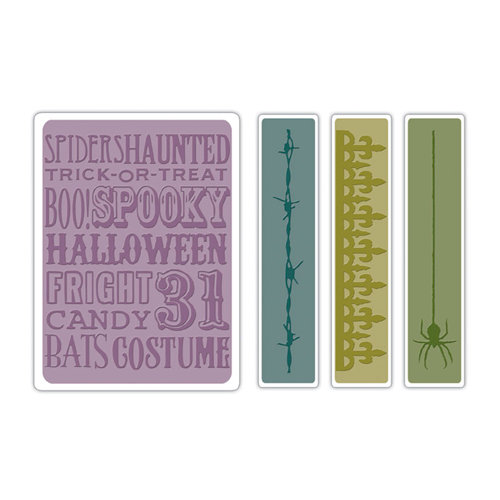 Sizzix - Tim Holtz - Texture Fades - Alterations Collection - Halloween - Embossing Folders - Halloween Background and Borders Set