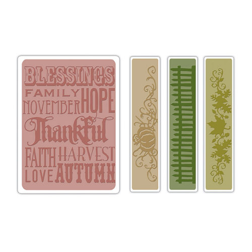 Sizzix - Tim Holtz - Texture Fades - Alterations Collection - Embossing Folders - Thankful Background and Borders Set