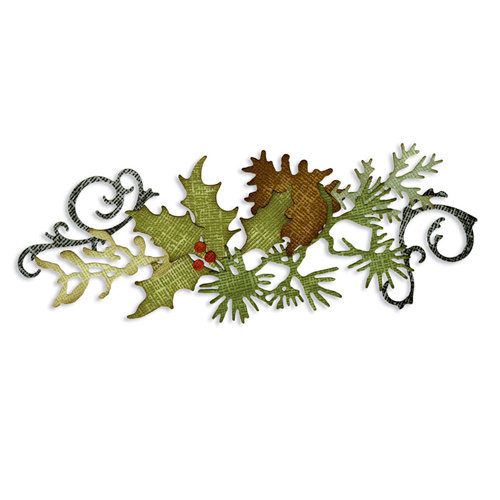 Sizzix - Tim Holtz - Alterations Collection - Sizzlits Decorative Strip Die - Festive Greenery