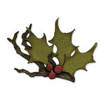 Sizzix - Tim Holtz - Alterations Collection - Bigz Die - Christmas - Holly Branch