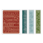 Sizzix - Tim Holtz - Texture Fades - Alterations Collection - Embossing Folders - Christmas Background and Borders Set
