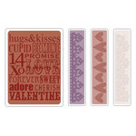 Sizzix - Tim Holtz - Texture Fades - Alterations Collection - Embossing Folders - Valentine Background and Borders Set