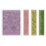Sizzix - Tim Holtz - Texture Fades - Alterations Collection - Embossing Folders - Springtime Background and Borders Set