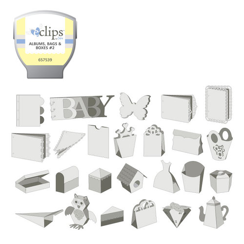Sizzix - EClips - Electronic Shape Cutting System - Cartridge - Albums, Bags and Boxes 2