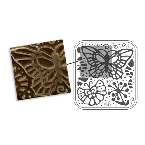 Sizzix - DecoEmboss Die - Vintaj - Embossing Folders - Butterfly Swirls
