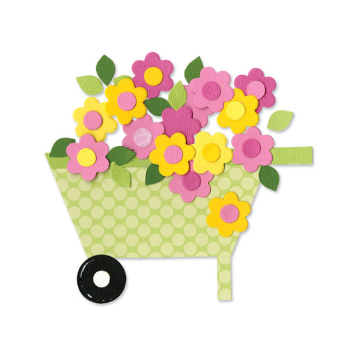 Sizzix - Happy Baby Collection - Bigz Die - Wheelbarrow and Flowers