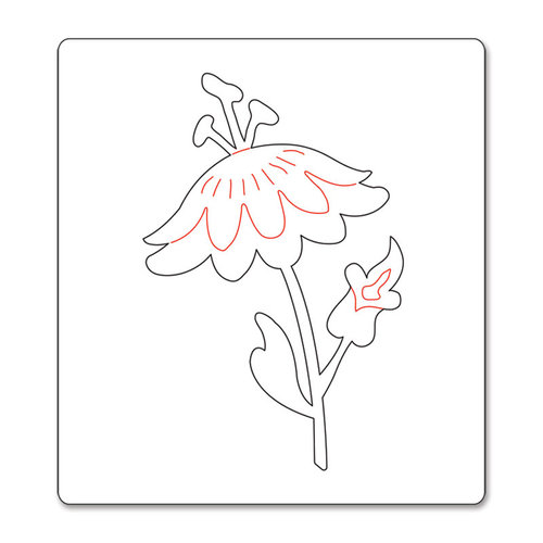 Sizzix - BasicGrey - Bigz Die - Hello Luscious Collection - Die Cutting Template - Flower with Leaves and Stem 4
