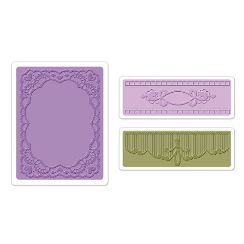 Sizzix - Textured Impressions - Vintage Cardmaking Collection - Embossing Folders - Oval Lace Set