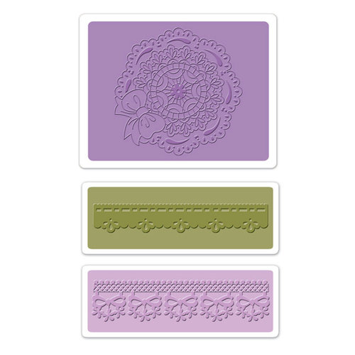 Sizzix - Textured Impressions - Vintage Cardmaking Collection - Embossing Folders - Scallop Circle Doily Set