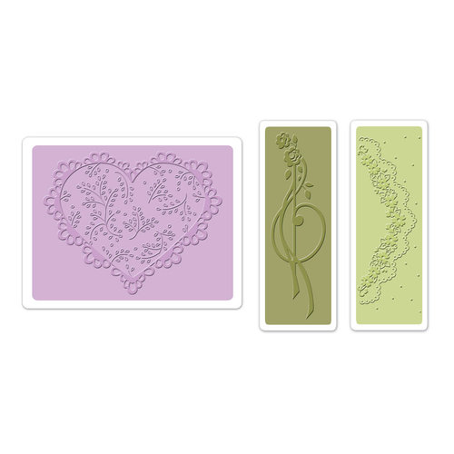 Sizzix - Textured Impressions - Vintage Cardmaking Collection - Embossing Folders - Scallop Heart Doily Set