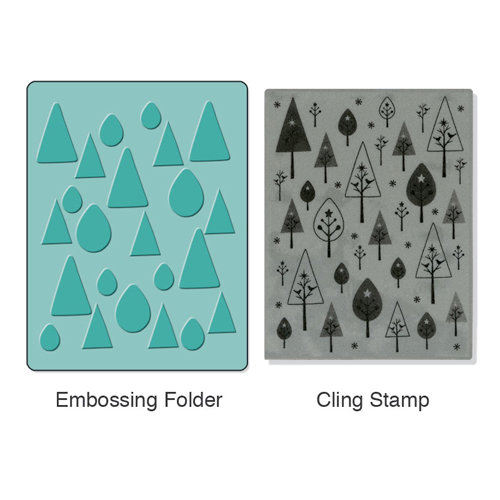 Sizzix - Stamp and Emboss - Hero Arts - Embossing Folder and Repositionable Rubber Stamp - Birds 'n' Trees Set