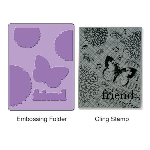 Sizzix - Stamp and Emboss - Hero Arts - Embossing Folder and Repositionable Rubber Stamp - Collage Background Set