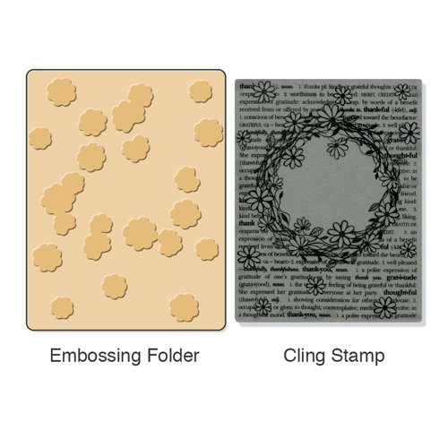 Sizzix - Stamp and Emboss - Hero Arts - Embossing Folder and Repositionable Rubber Stamp - Floral Wreath Set