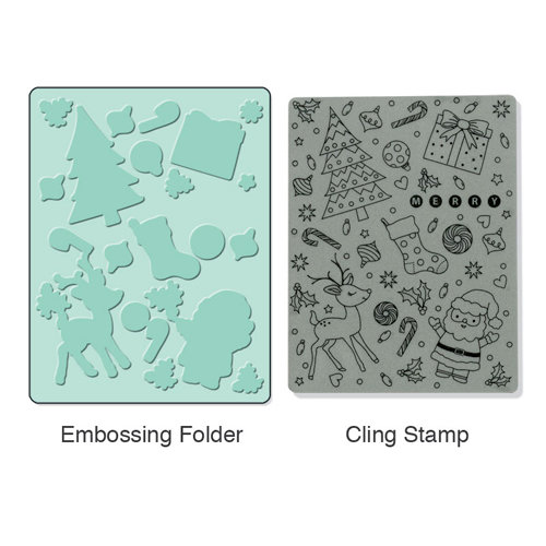 Sizzix - Stamp and Emboss - Hero Arts - Christmas - Embossing Folder and Repositionable Rubber Stamp - Merry Background Set