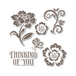 Sizzix - Hero Arts - Framelits Die and Repositionable Rubber Stamp Set - Floral
