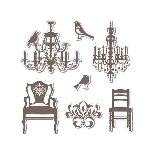 Sizzix - Hero Arts - Framelits Die and Repositionable Rubber Stamp Set - Chandeliers