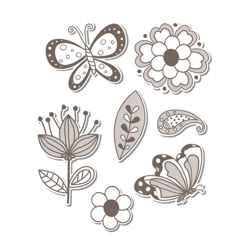 Sizzix - Hero Arts - Framelits Die and Repositionable Rubber Stamp Set - Flowers and Butterflies