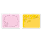 Sizzix - Textured Impressions - Greetings Collection - Embossing Folders - Tree and Flower Frame Set