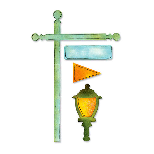 Sizzix - Sizzlits Decorative Strip Die - Flagpole with Lantern and Sign