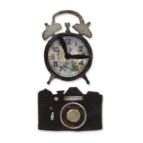 Sizzix - Tim Holtz - Alterations Collection - Movers and Shapers Die - Vintage Alarm Clock and Camera Set