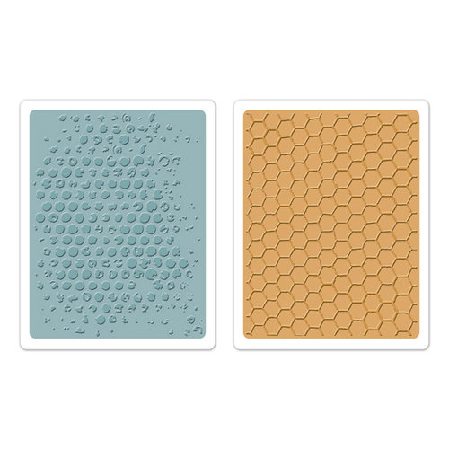 Sizzix - Tim Holtz - Texture Fades - Alterations Collection - Embossing Folders - Bubble and Honeycomb Set