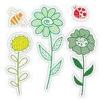 Sizzix - Hero Arts - Framelits Die and Repositionable Rubber Stamp Set - Garden Flowers Set
