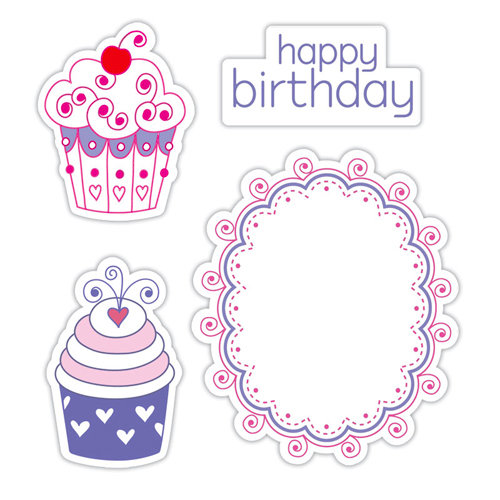 Sizzix - Hero Arts - Framelits Die and Repositionable Rubber Stamp Set - Happy Birthday Cupcakes Set