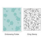 Sizzix - Stamp and Emboss - Hero Arts - Embossing Folder and Repositionable Rubber Stamp - Flowers and Vines Set