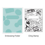 Sizzix - Stamp and Emboss - Hero Arts - Embossing Folder and Repositionable Rubber Stamp - Postage and Frame Set