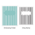 Sizzix - Stamp and Emboss - Hero Arts - Embossing Folder and Repositionable Rubber Stamp - Stripes and Frames Set
