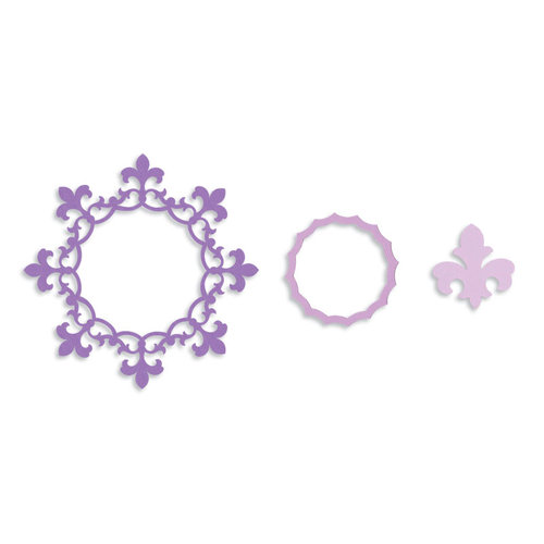 Sizzix - Framelits - Die Cutting Template - Frame, Circle with Fleur de Lis Edging