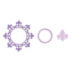 Sizzix - Framelits Die - Frame, Circle with Fleur de Lis Edging