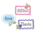 Sizzix - Framelits Die and Repositionable Rubber Stamp Set - Words and Tags