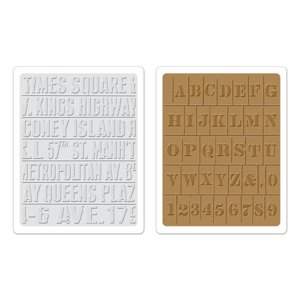 Sizzix - Tim Holtz - Texture Fades - Alterations Collection - Embossing Folders - Subway and Stencil Set